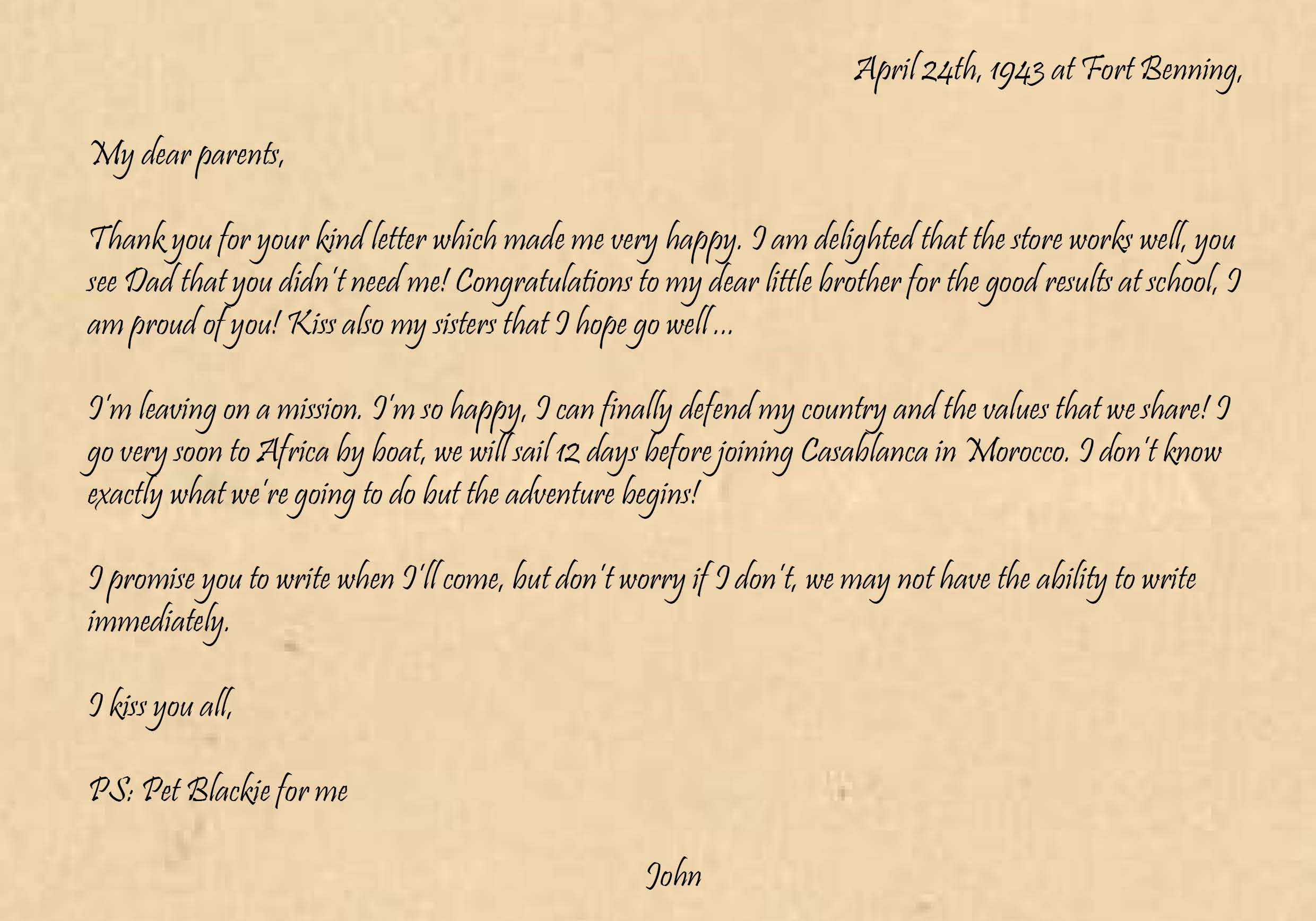 John's letter for his parents